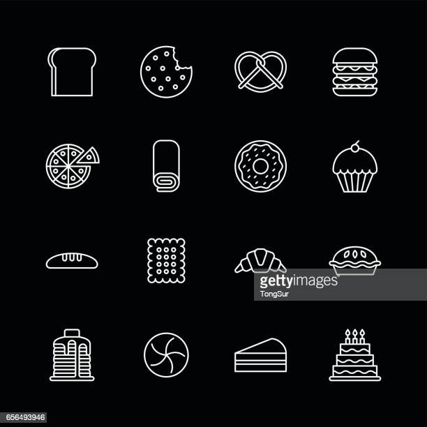 Baked bakery bread icons - line White