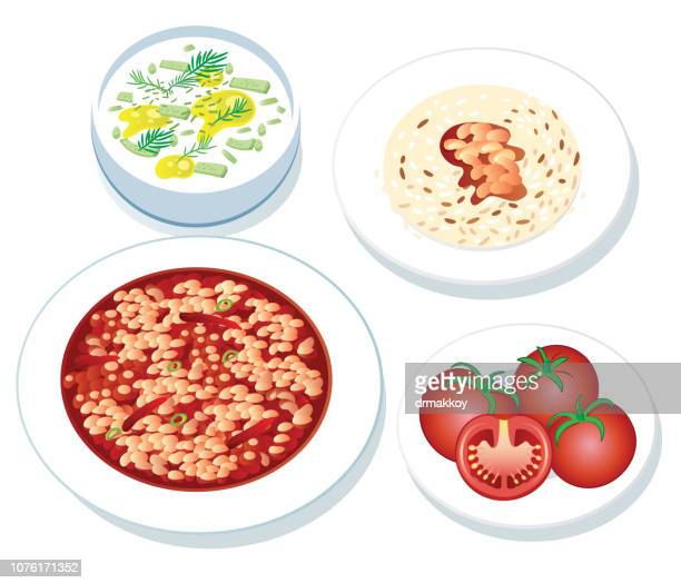 baked beans and rice and tzatziki, tomato, kuru fasülye - baked beans stock illustrations, clip art, cartoons, & icons