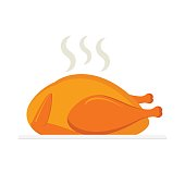 Baked chicken isolated on white background. Vector illustration.