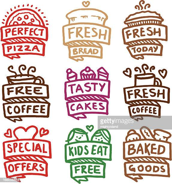 Baked goods icon set doodle icons