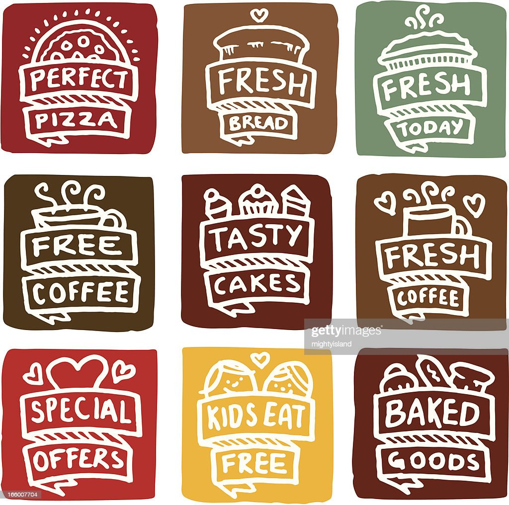 Baked goods icons block icon set : stock illustration