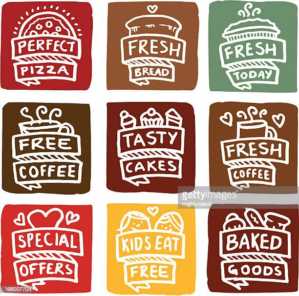 baked goods icons block icon set - meat pie stock illustrations, clip art, cartoons, & icons