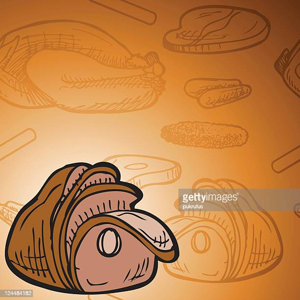baked ham background