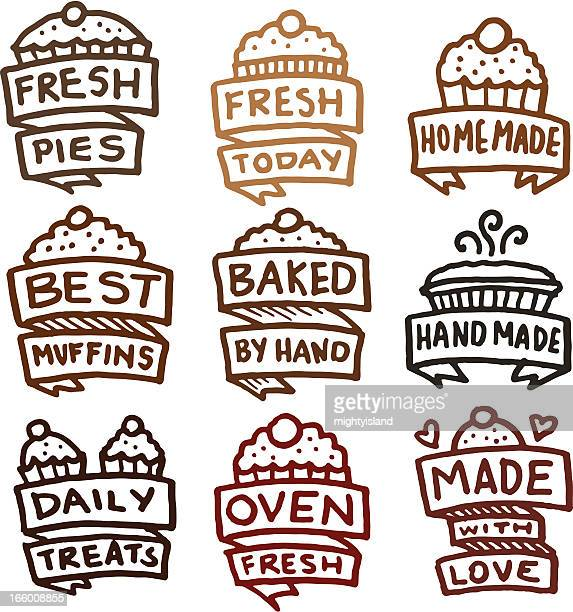 Baked pies cakes and muffins icon set icons