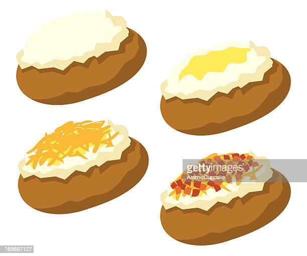 ilustraciones, imágenes clip art, dibujos animados e iconos de stock de patata al horno - patatas preparadas