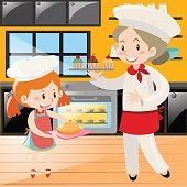 Baker and girl baking in kitchen
