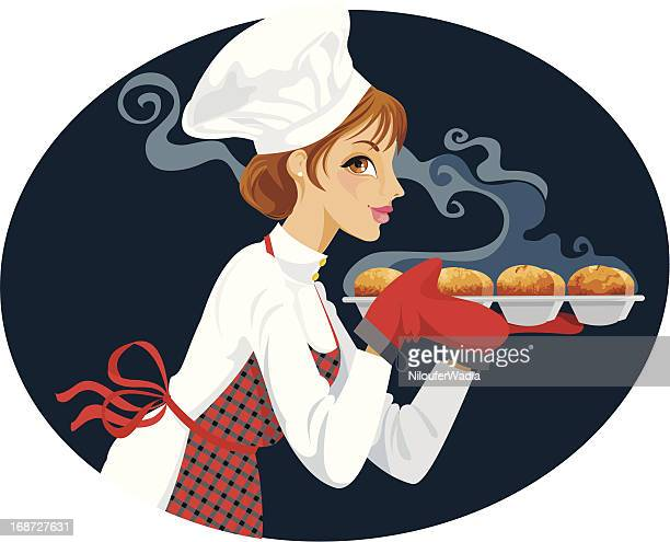 baker with fresh cupcakes - making a cake stock illustrations, clip art, cartoons, & icons