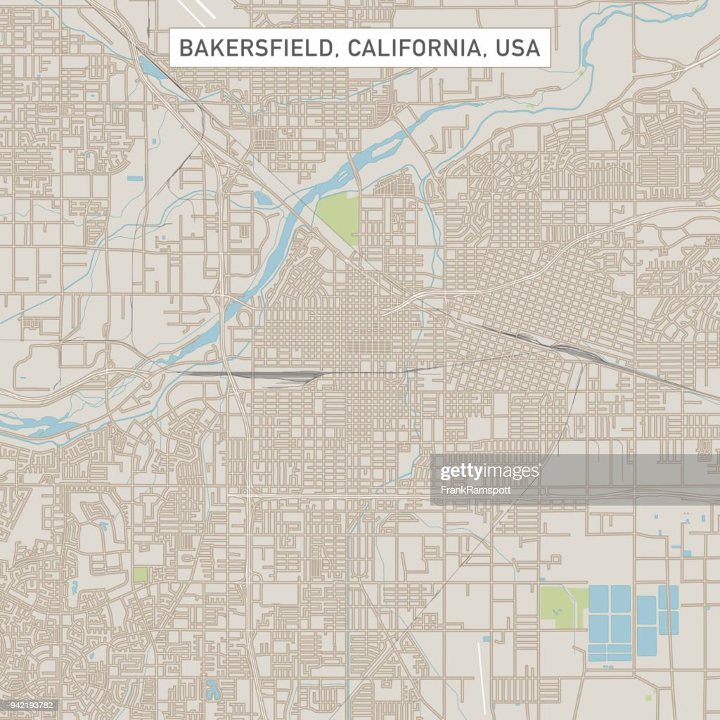 Bakersfield California Us City Street Map Vector Art | Getty Images