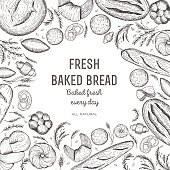 Bakery and bread frame. Bread design template. Vector illustration. Bakery design elements.