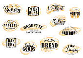 Bakery and pastry bread vector sketch lettering