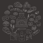 Bakery and pastry collection doodle vector illustration