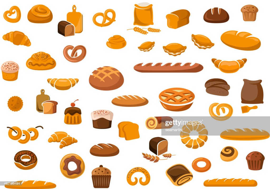 Bakery and pastry products icons