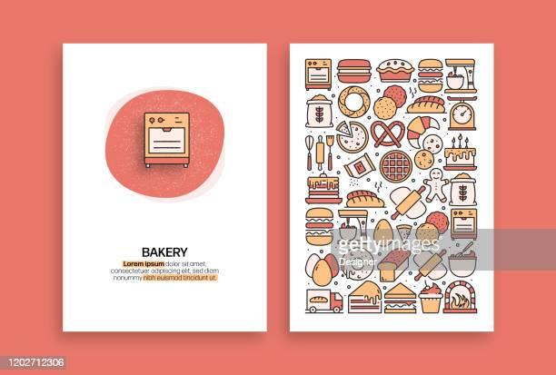ベーカリーとパティスリー関連のデザイン。パンフレット、カバー、チラシ、年次報告書のための現代のベクトルテンプレート。 - ケーキ点のイラスト素材/クリップアート素材/マンガ素材/アイコン素材