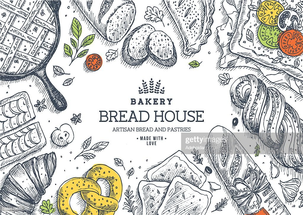 Bakery background. Linear graphic. Bread and pastry collection. Bread house.