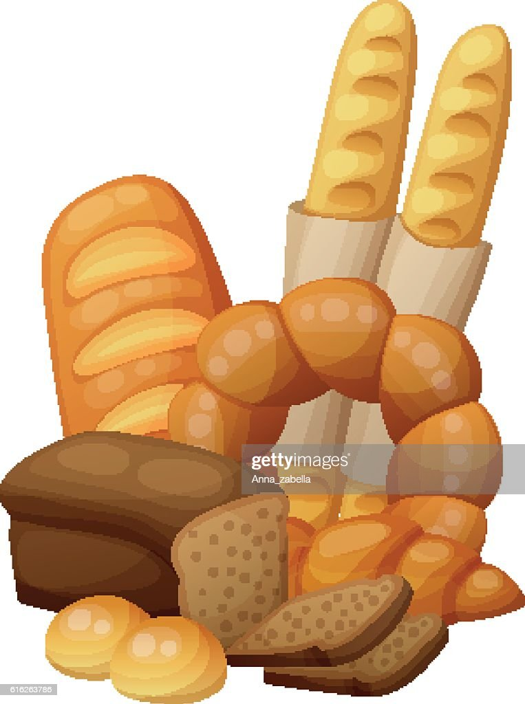 Bakery: bread, buns, croissant, loaf . Cartoon vector illustration isolated on : Vector Art