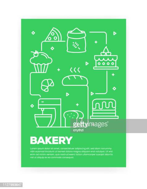 Bakery Concept Line Style Cover Design for Annual Report, Flyer, Brochure.