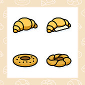 Bakery, dessert, cookies, snacks and food colored icon set and colored vector illustration - 1