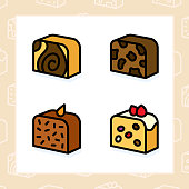 Bakery, dessert, cookies, snacks and food colored icon set and colored vector illustration - 8