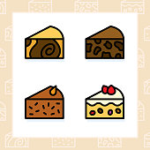 Bakery, dessert, cookies, snacks and food colored icon set and colored vector illustration - 9
