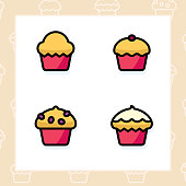 Bakery, dessert, cookies, snacks and food colored icon set and colored vector illustration - 12