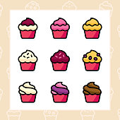 Bakery, dessert, cookies, snacks and food colored icon set and colored vector illustration - 11