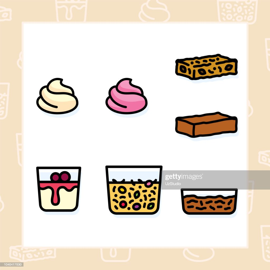 Bakery, dessert, cookies, snacks and food colored icon set and colored vector illustration - 14