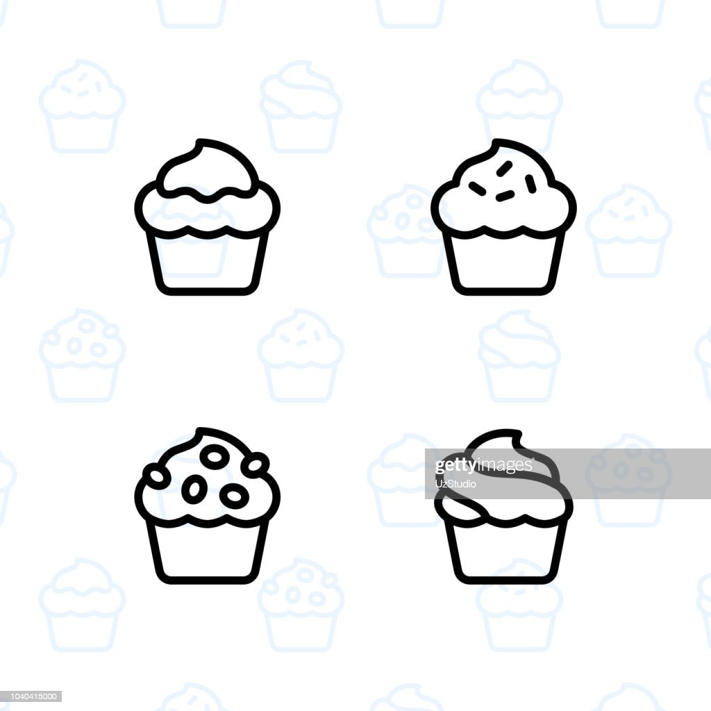 Bakery, dessert, cookies, snacks and food icon set and vector illustration - 11