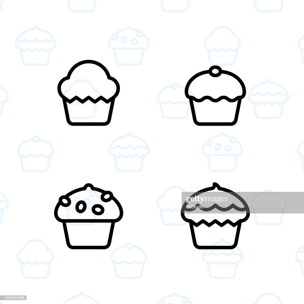 Bakery, dessert, cookies, snacks and food icon set and vector illustration - 12