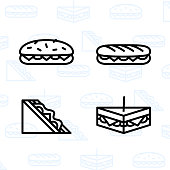 Bakery, dessert, cookies, snacks and food icon set and vector illustration - 2