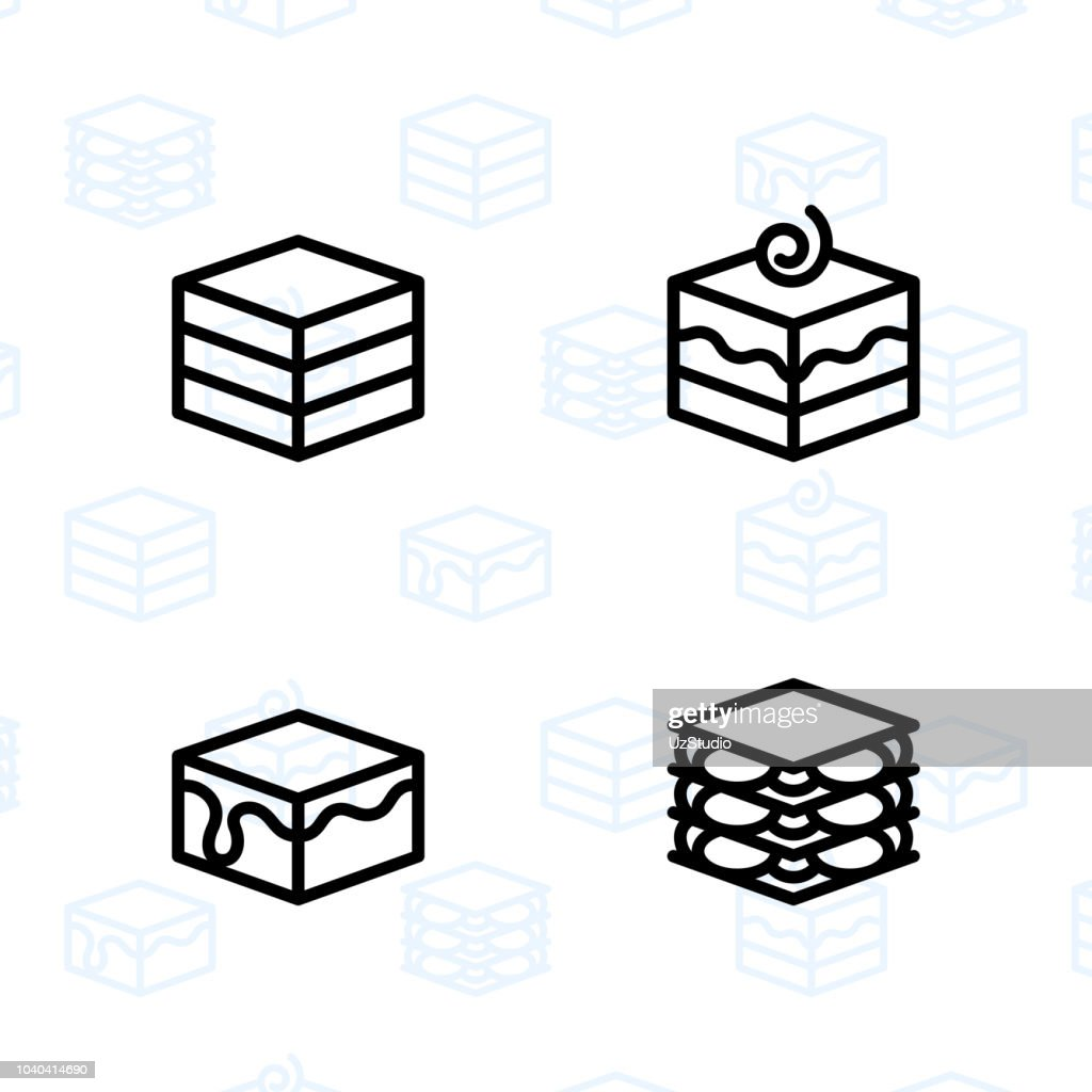 Bakery, dessert, cookies, snacks and food icon set and vector illustration - 3