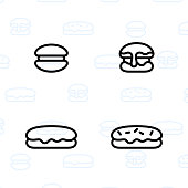 Bakery, dessert, cookies, snacks and food icon set and vector illustration - 5