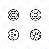 Bakery, dessert, cookies, snacks and food icon set and vector illustration - 6