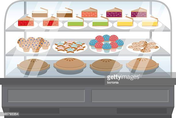 bakery display - display cabinet stock illustrations, clip art, cartoons, & icons