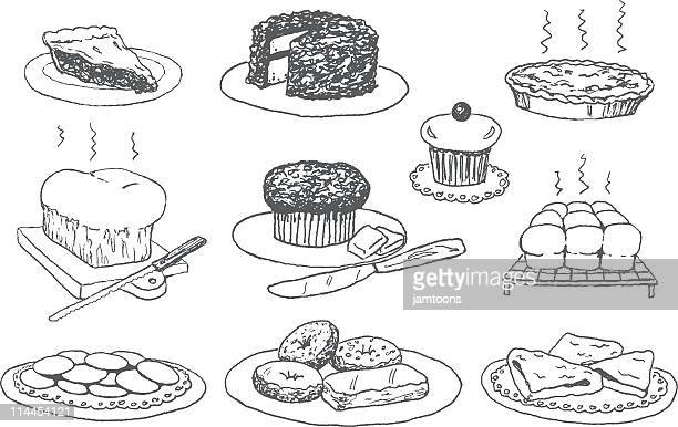 bakery doodles - muffin stock illustrations, clip art, cartoons, & icons