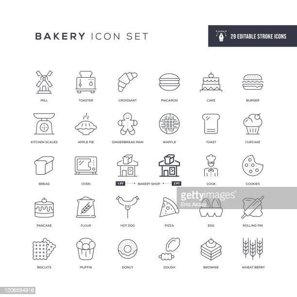 ベーカリー編集可能ストロークラインアイコン - オーブン点のイラスト素材/クリップアート素材/マンガ素材/アイコン素材