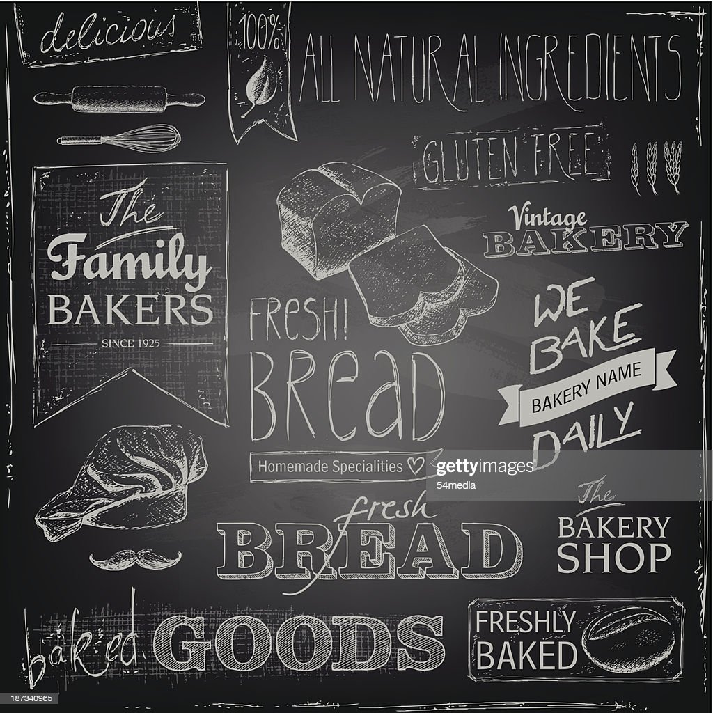 Bakery elements on a blackboard