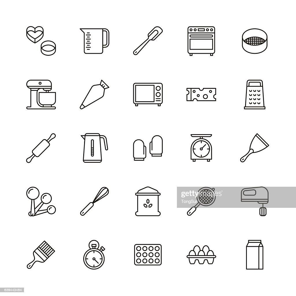Bakery equipment icons - line : ストックイラストレーション
