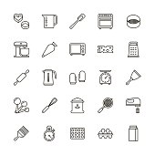 Bakery equipment icons - line