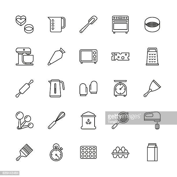 bakery equipment icons - line - kitchen scale stock illustrations, clip art, cartoons, & icons