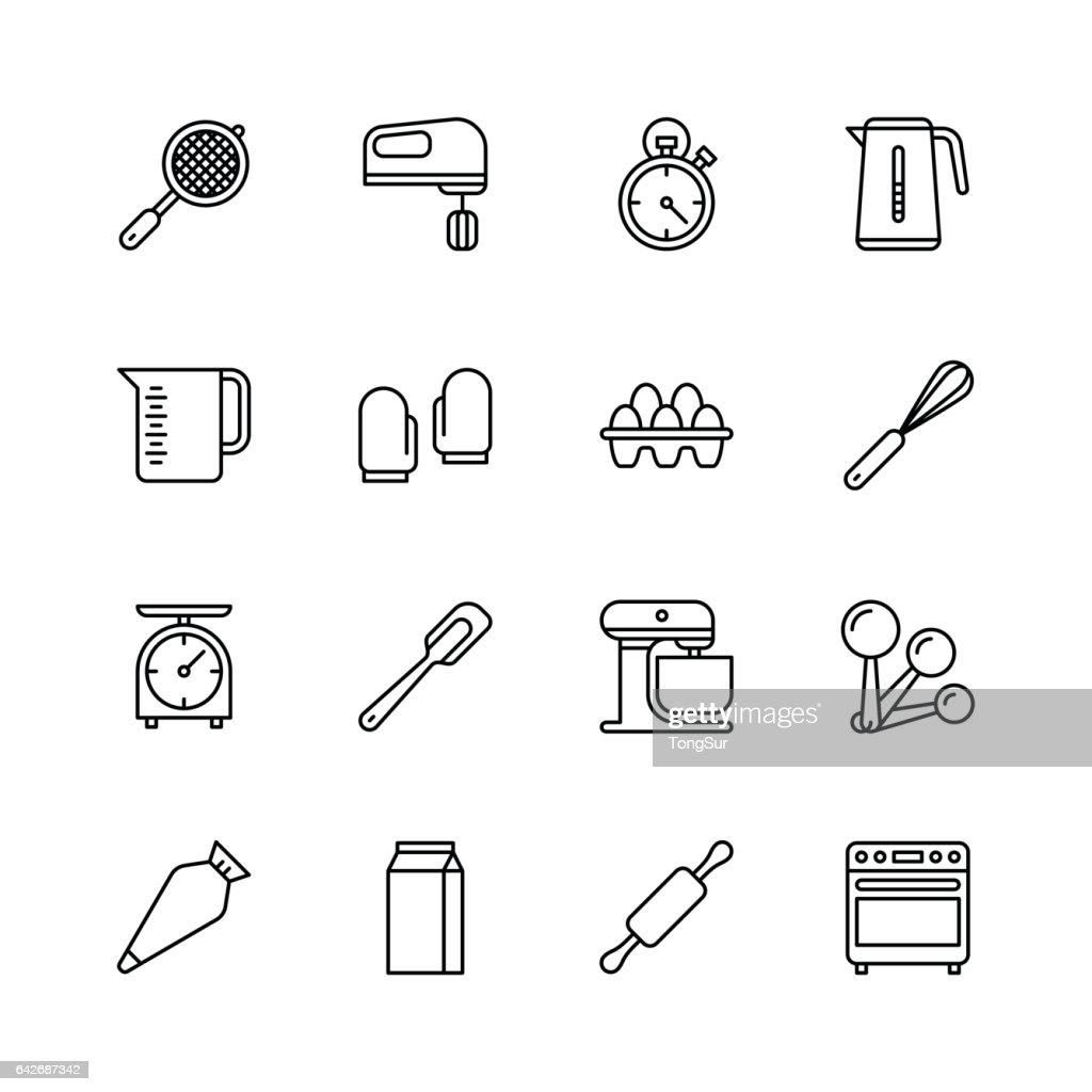 Bakery equipment icons - line : stock illustration