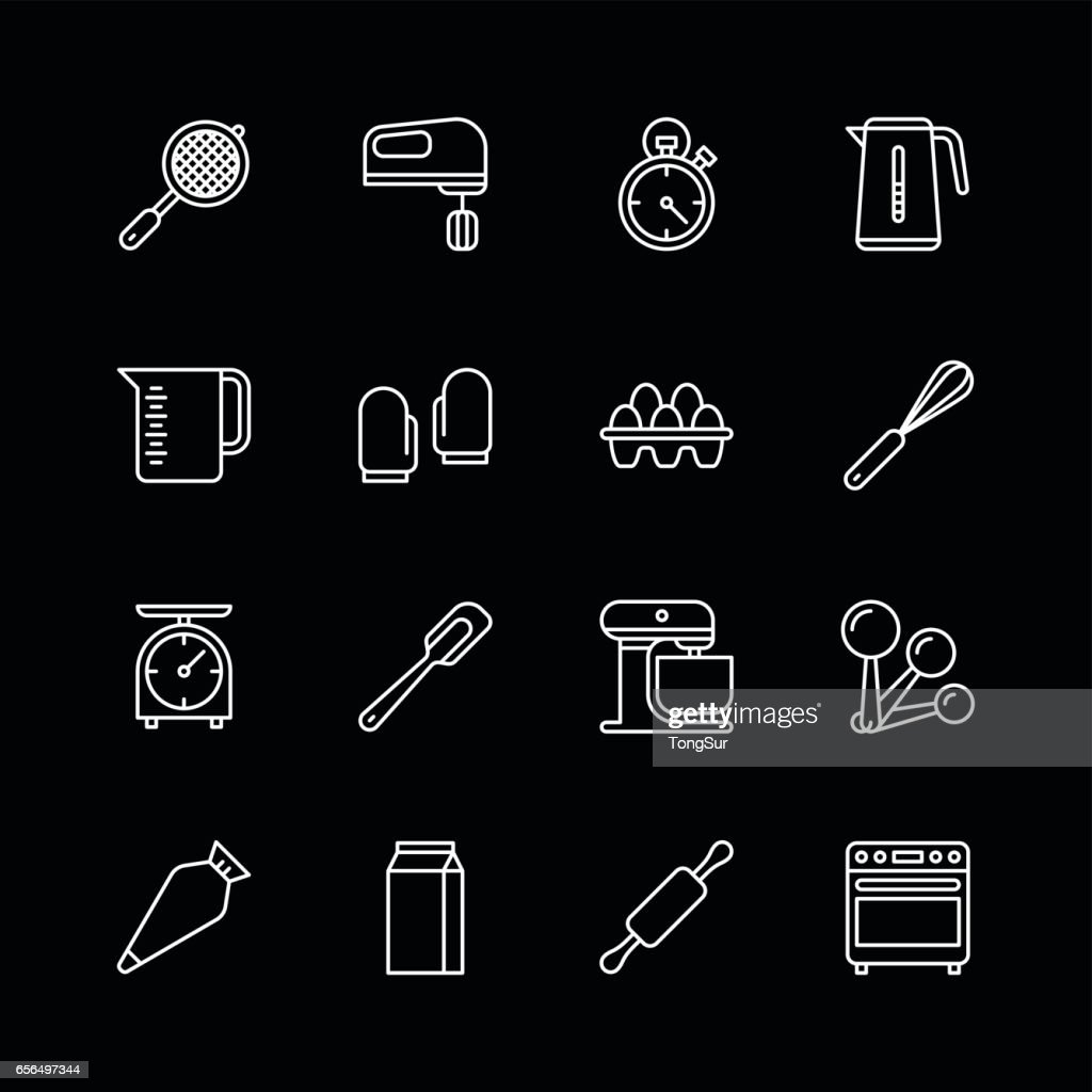 Bakery equipment icons - line White