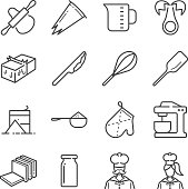Bakery equipment icons