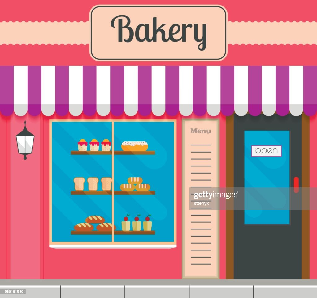 Bakery facade in flat style. Vector illustration of city small business bakery shop front design.