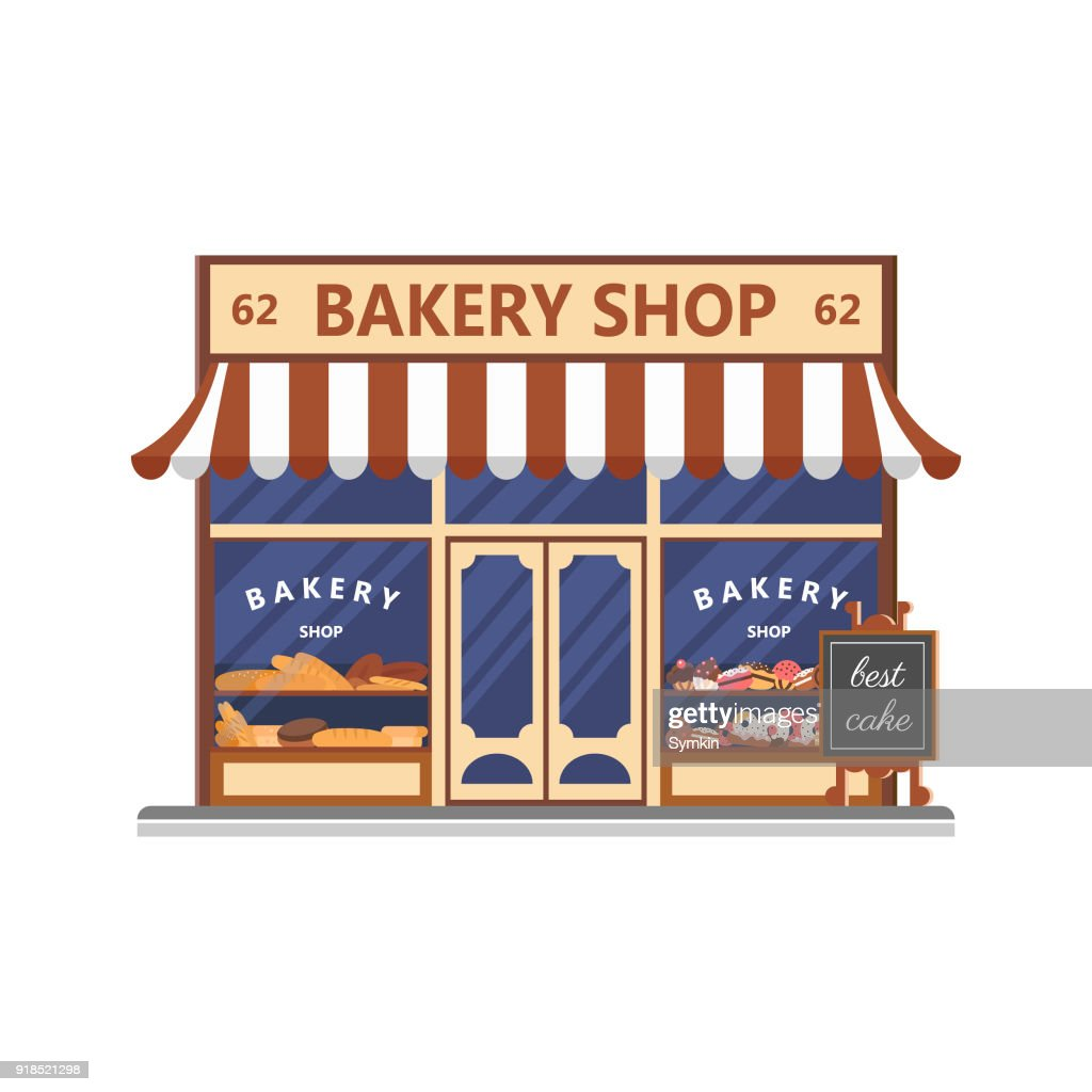 Bakery facade. Showcase with sweets. Cakes and bread. Flat vector