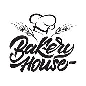 Bakery house icon in lettering style with chef's hat and cereals. Vector illustration.