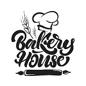 Bakery house icon in lettering style with chef's hat, cereals and rolling pin. Vector illustration.