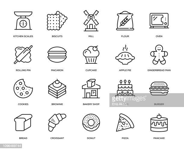 bakery icon set - kitchen scale stock illustrations, clip art, cartoons, & icons