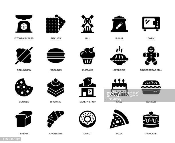 bakery icon set - brownie stock illustrations, clip art, cartoons, & icons