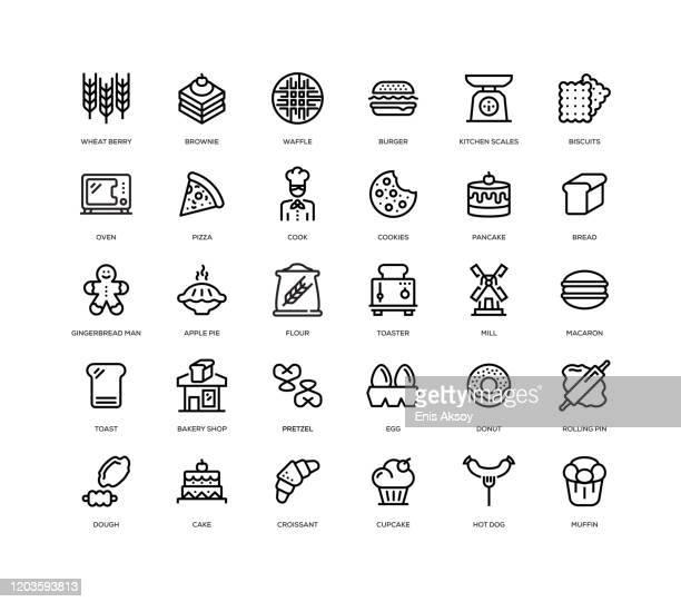 ベーカリーアイコンセット - オーブン点のイラスト素材/クリップアート素材/マンガ素材/アイコン素材