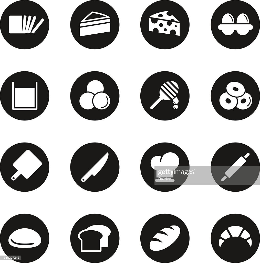 Bakery Icons - Black Circle Series